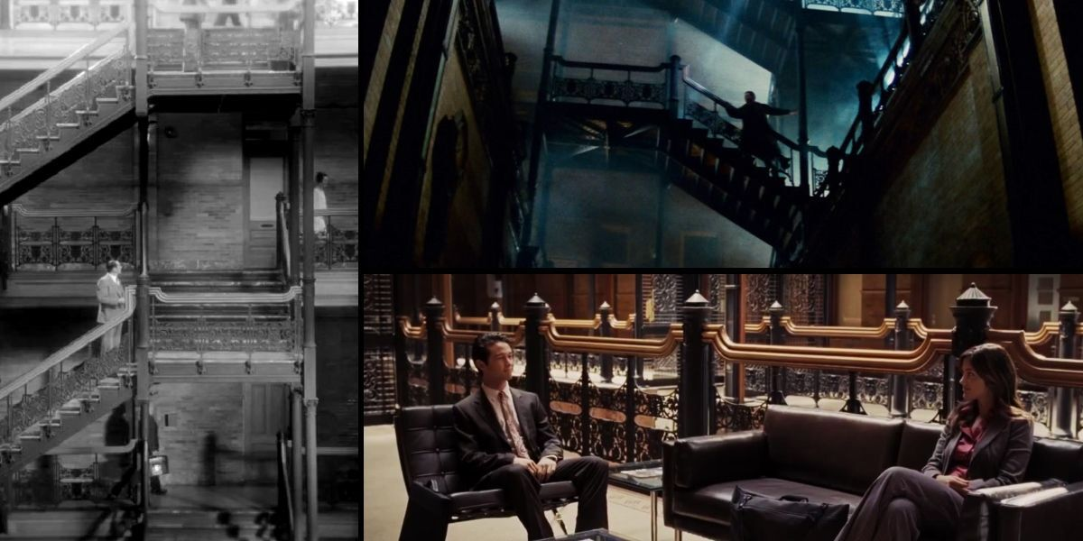 "The Bradbury Building in film: ""The Artist"" (left), ""Blade Runner"" (top-right), and ""500 Days of Summer"" (bottom-right)"