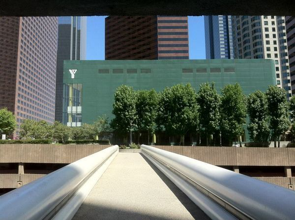 The Pedway connecting the Westin Bonaventure Hotel to the YMCA