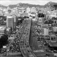 Cheonggyecheon elevated expressway in Seoul, South Korea