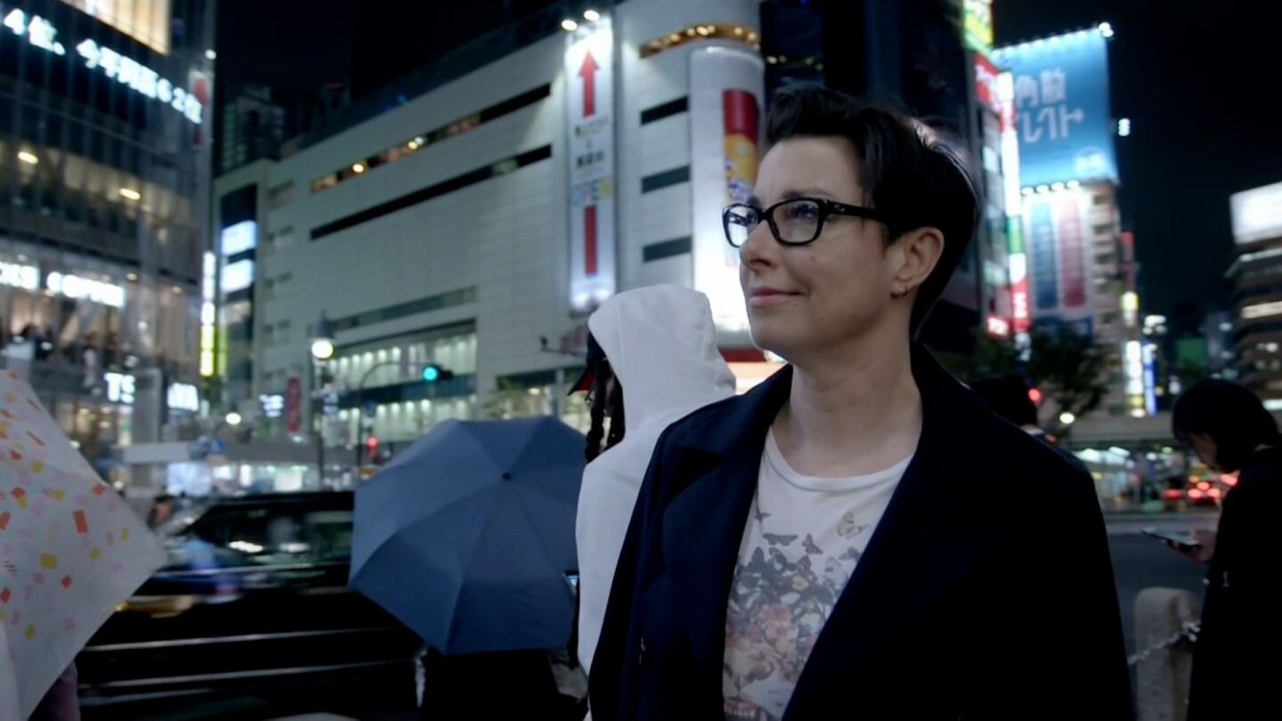 Sue Perkins on the streets of Tokyo, Japan.