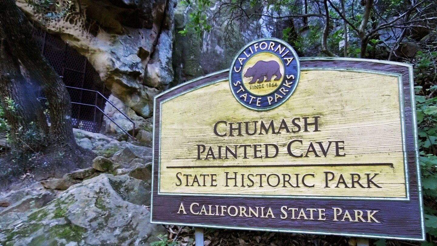 Welcome sign to Chumash Painted Cave State Historic Park