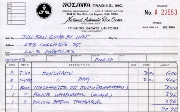 "Reproduction of receipt from Nozawa Trading | Included in ""The Treasures of Bruce Lee"""