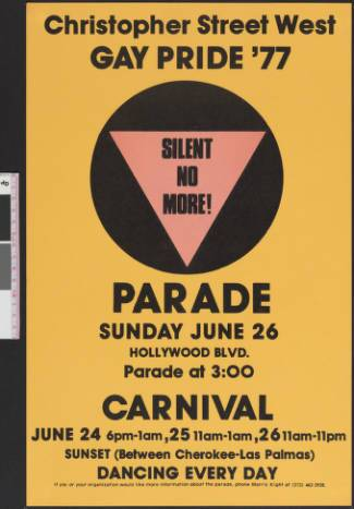Christopher Street West gay pride poster, 1977. | Christopher Street West/Los Angeles, ONE National Gay and Lesbian Archives, USC Libraries