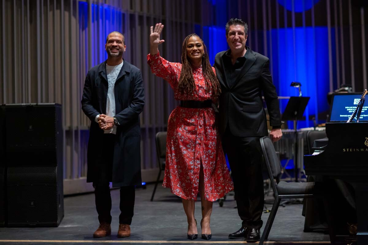 "Jason Moran, Ava DuVernay and Cheche Alara take their final bows at the ""Selma"" live score by Jason Moran at The Soraya on Feb. 1, 2019. | Luis Luque"