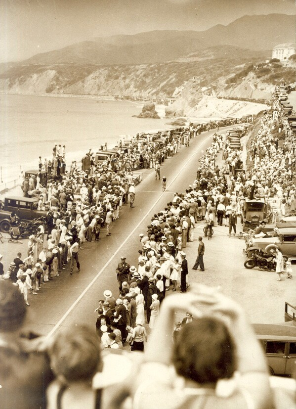Pacific Coast Highway hosted the cycling road race in 1932 Olympics. Courtesy of the LA84 Foundation.