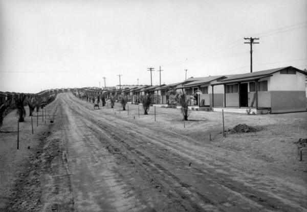 A row of cottages at Olympic Village in Baldwin Hills | Photo courtesy of the Los Angeles Public Library