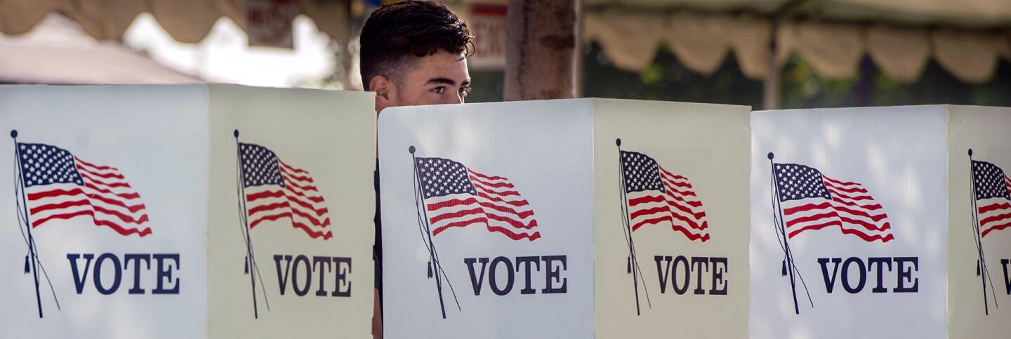Students take part in the Power California early voting event in Norwalk in on Wednesday, October 24, 2018. | Mindy Schauer/Digital First Media/Orange County Register via Getty Images