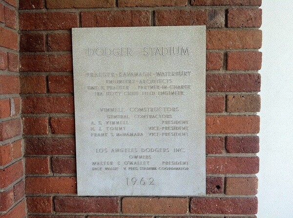 Historic plaque honors the stadium's designers and builders