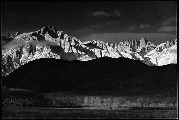 Winter Sunrise, Sierra Nevada from Lone Pine, 1944. Photography by Ansel Adams. Courtesy of Collection Center for Creative Photography, University of Arizona. Copyright the Ansel Adams Publishing Rights Trust.