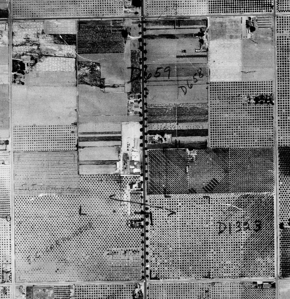 Aerial view of Knott's Berry Farm in 1938, when it was still an actual farm. Photo courtesy of the Orange County Archives.