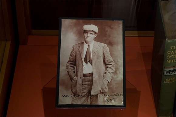 Photograph of Jack London taken in Melbourne, Australia, 1908. The Huntington Library, Art Collections, and Botanical Gardens.