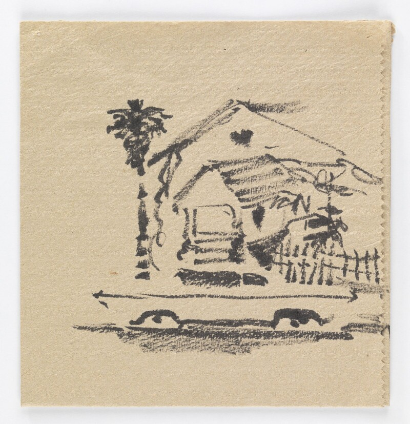 José Montoya, Untitled, date unknown. Ink on paper, 13.5 x13 cm. Courtesy of the Montoya Family Trust.