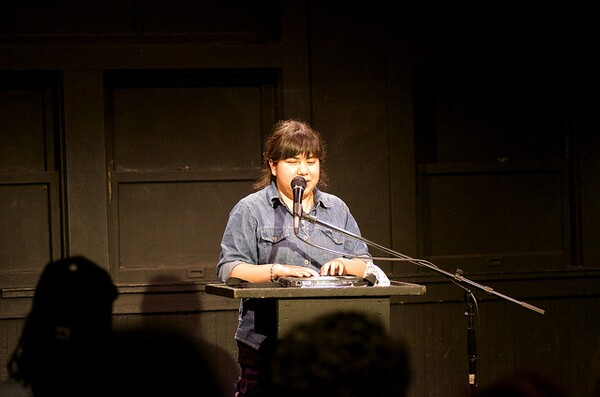 Laura Davila reads at Beyond Baroque | Photo: DSTL Arts