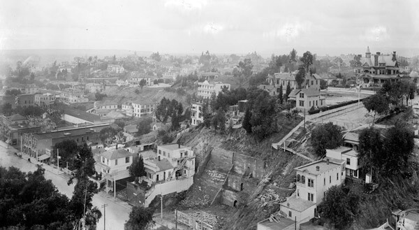 Circa 1900 panoramic view of Bunker Hill from the county courthouse. The Bradbury Mansion is visible on the far right. Courtesy of the Title Insurance and Trust / C.C. Pierce Photography Collection, USC Libraries.