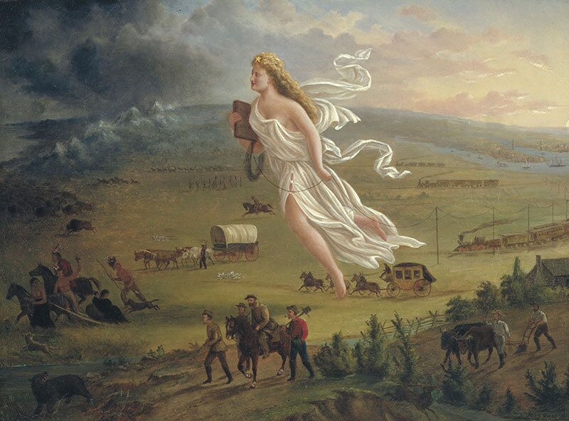 American Progress (1872), a painting by John Gast, depicts American Indians repelled magically westward by the technology of the telegraph.   Photo: The Autry Museum