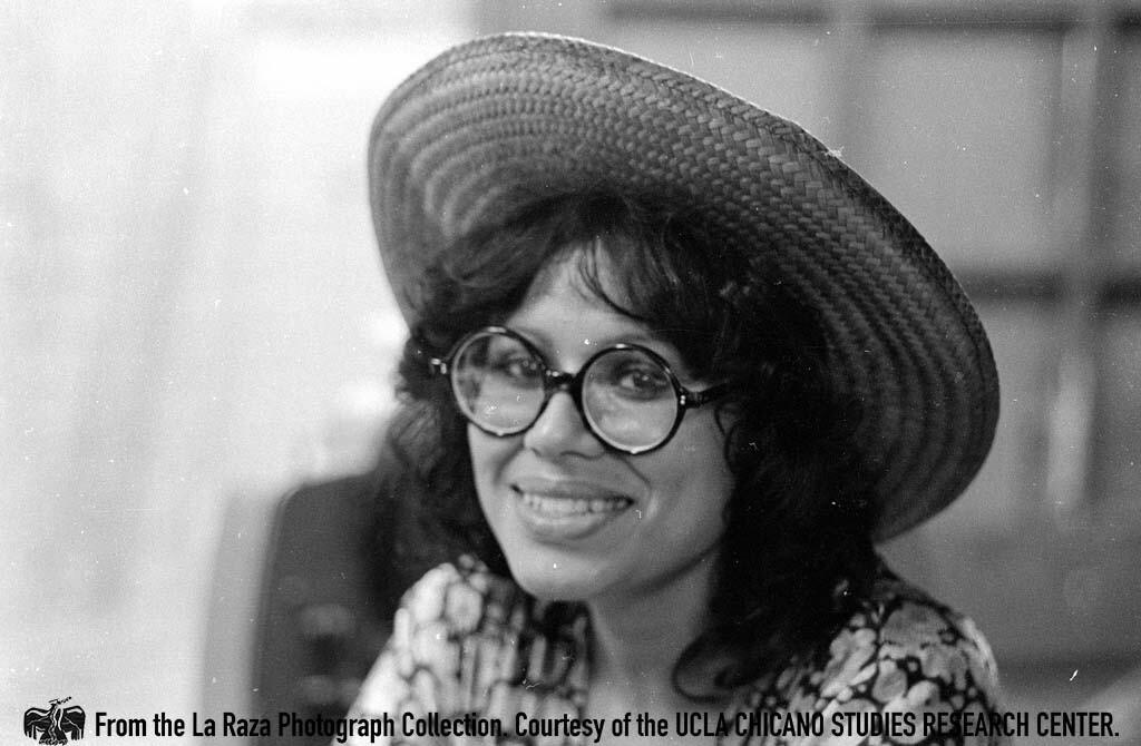 CSRC_LaRaza_B14F5S2_N025 A La Raza staff member, perhaps Maria Marquez-Sanchez   Manuel Barrera, Jr., La Raza photograph collection. Courtesy of UCLA Chicano Studies Research Center