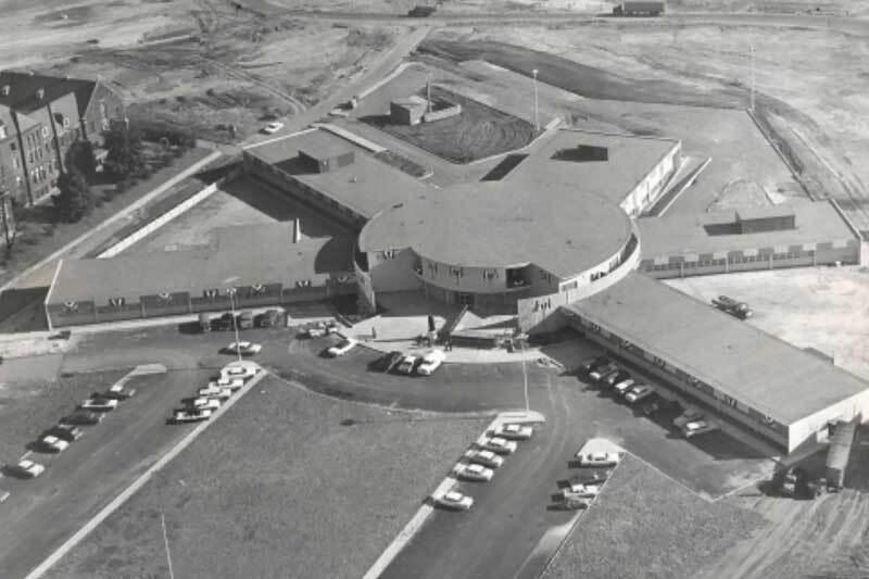 An aerial photograph of St. Jude Children's Research Hospital, Memphis, TN c. 1962