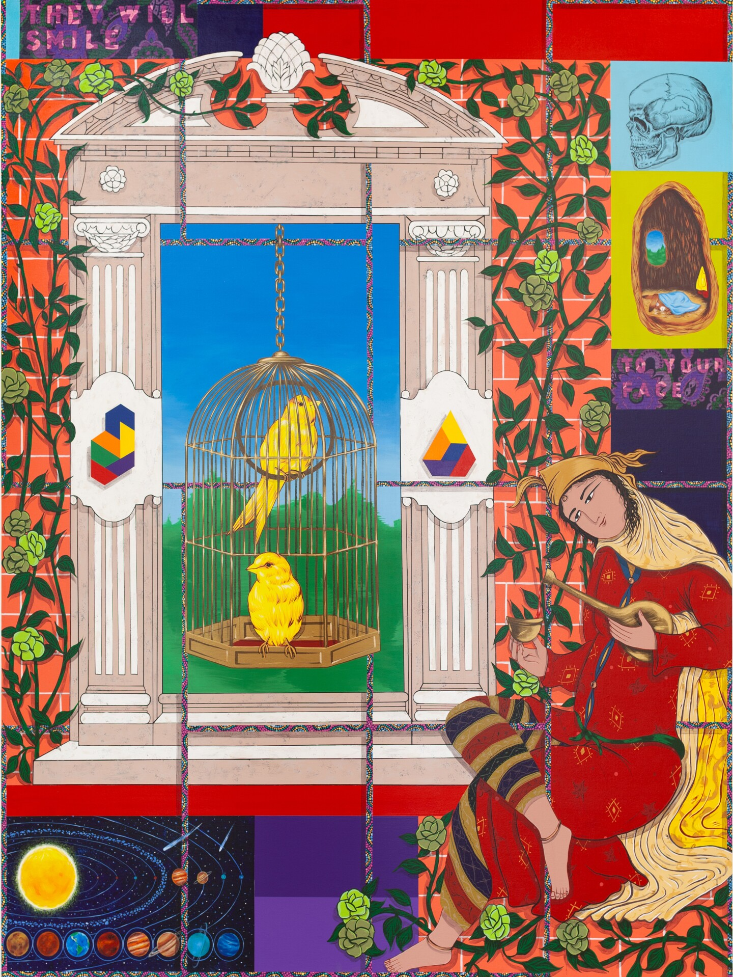 A man sits by a bird cage with two birds.