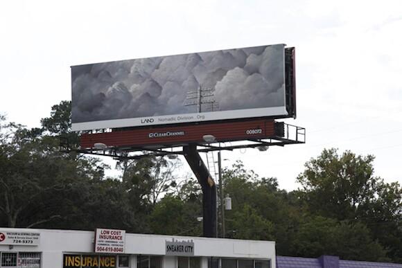 "Shana Lutker, ""Onward and Upward,"" 10 billboards, Jackonville, FL, 2013. A LAND Exhibition:The Manifest Destiny Billboard Project.| Image courtesy of Zoe Crosher and LAND (Los Angeles Nomadic Division)"