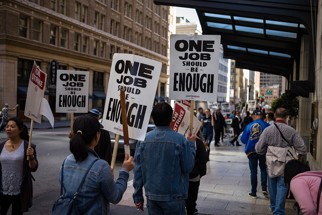 Workers of the Palace Hotel - part of Marriott Hotels - are on strike in October 2018 in San Francisco to fight for higher wages, workplace security and job safety.