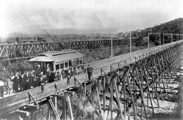 1895 view of the Pasadena and Los Angeles Railway's trestle over the Arroyo Seco. Courtesy of the Title Insurance and Trust / C.C. Pierce Photography Collection, USC Libraries.