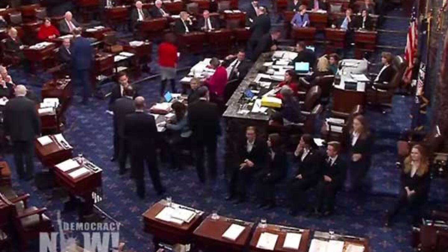 Senate floor on the night when Republicans passed a nearly 500-page tax bill. | Democracy Now