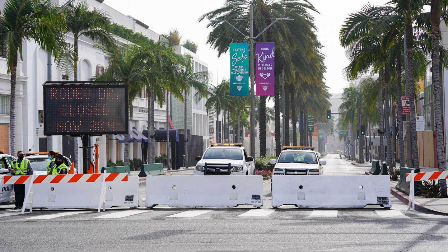 Rodeo Drive, the world renowned shopping street in Beverly Hills, California, is boarded up and closed to vehicular and pedestrian traffic on November 3, 2020 as a precaution against possible violence on the day of the U.S. presidential election.