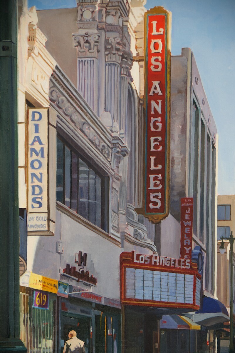 This is the painting Patricia Chidlaw made of the Los Angeles Theater located in downtown L.A. Refetoff has shot it several times in his work as a commercial scout. Photo: Osceola Refetoff