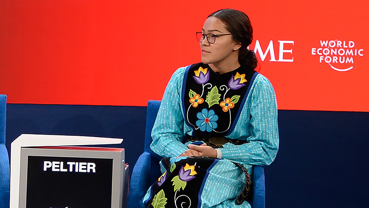 Environmental activist Autumn Peltier attends a session at the Congres center during the World Economic Forum (WEF) annual meeting in Davos, on January 21, 2020. |  FABRICE COFFRINI/AFP via Getty Images