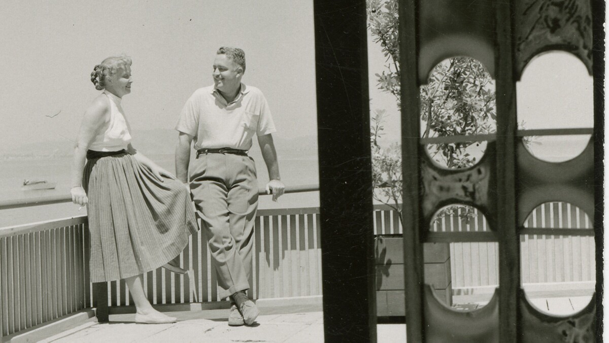 Brian and Edith Heath on the patio of Dorothea, a barge they converted into a home | Courtesy of the Environmental Design Archives at UC Berkeley