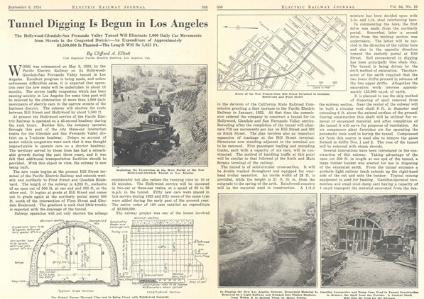 Article about the Pacific Electric subway in the September 6, 1924 issue of Electric Railway Journal. Courtesy of the Metro Transportation Library and Archive. Used under a Creative Commons license (CC BY-NC-SA 2.0).