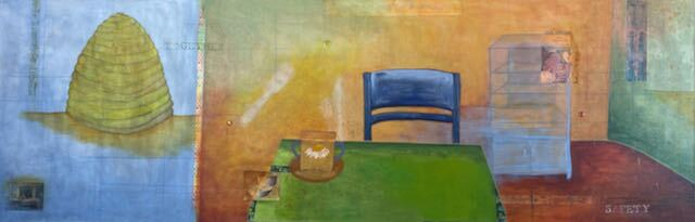 A painting of a beehive and a dining room by Monika Ramirez Wee.
