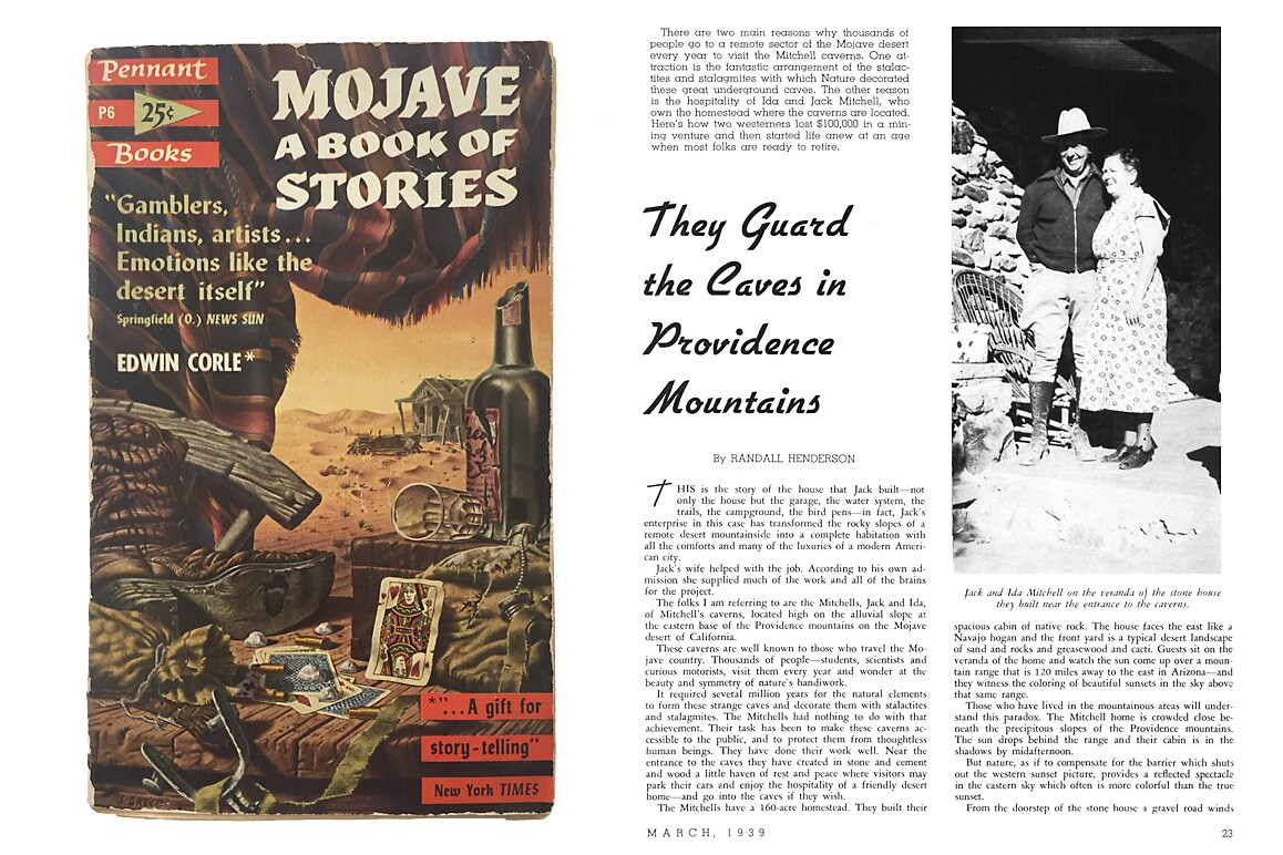 Left: A 1953 Pennant Books collection of Edwin Corle's Mojave: A Book of Stories. Right: Ida and Jack Mitchell pictured in a March 1939 Desert Magazine feature by Randall Henderson.