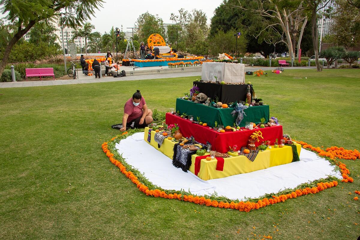 An ofrenda at Grand Park for Día de los Muertos in 2020 | Rafael Cardenas