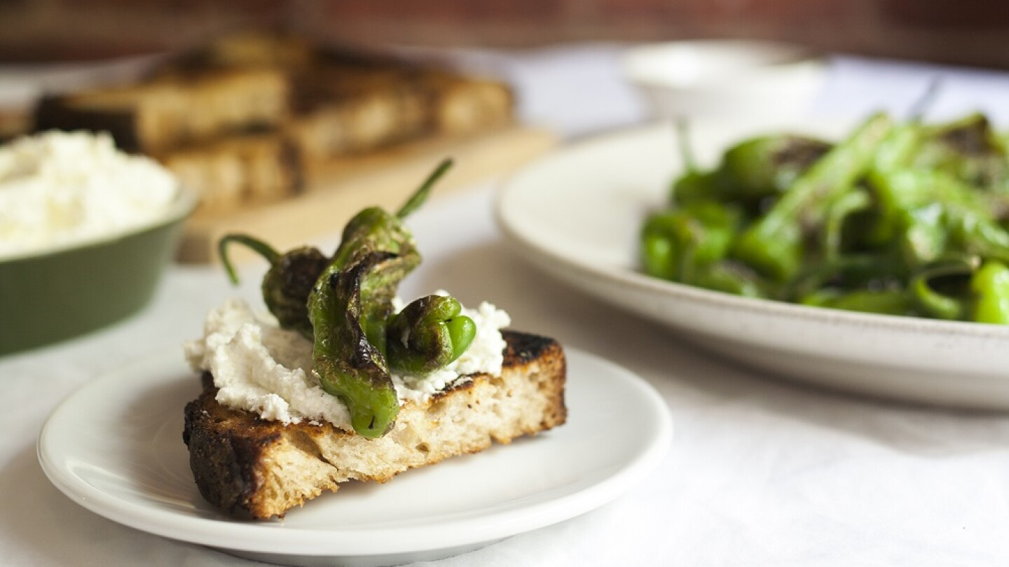 Blistered Shishito Pepper and Soft Cheese Toasts