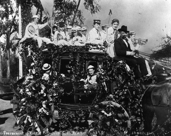 Pasadena's exclusive Tennis Club entered this float in the 1893 Tournament of Roses Parade. Photo courtesy of the Herald-Examiner Collection, Los Angeles Public Library.