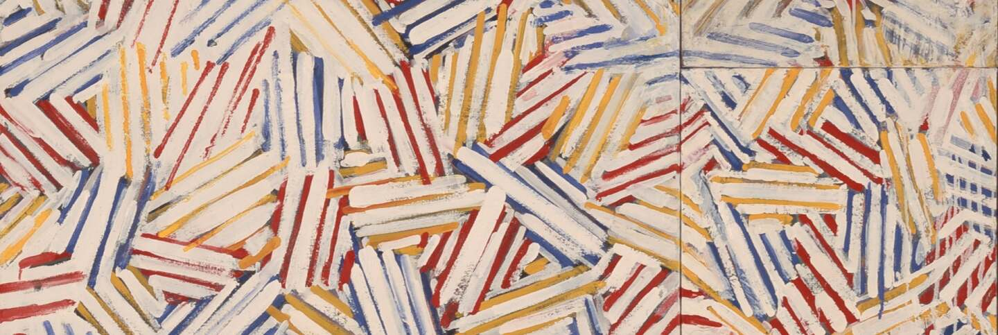 Jasper Johns, Untitled, 1975. Oil and encaustic on canvas (four panels). 50 1/8 x 50 1/8 in. (127.32 x 127.32 cm). The Eli and Edythe L. Broad Collection Art © Jasper Johns/Licensed by VAGA, New York, NY