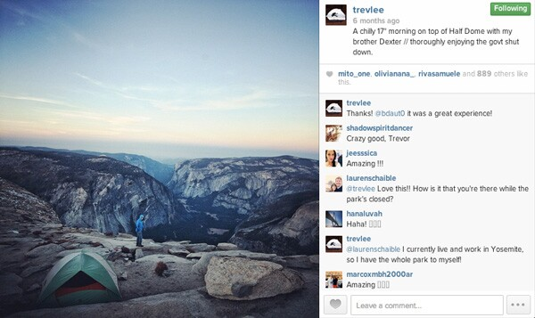 Trev and Dexter Lee's campsite on top of Half Dome during government shutdown.