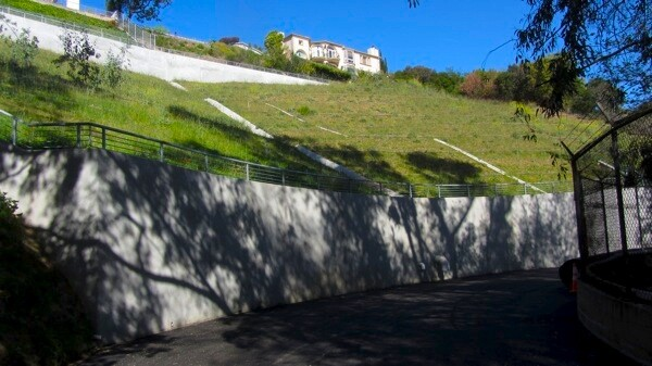 Nine mudslides prompted the closure of the Lake Hollywood path. Retaining walls like this were installed. | Photo: Zach Behrens/KCET
