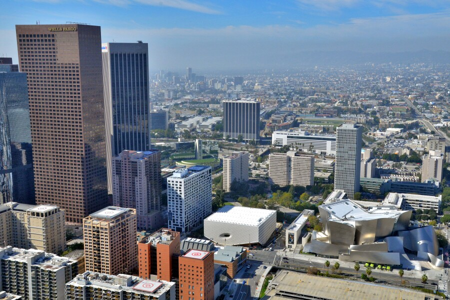 Aerial photo of The Broad in downtown Los Angeles.   Photo: Jeff Duran/Warren Air, courtesy of The Broad and Diller Scofidio + Renfro.