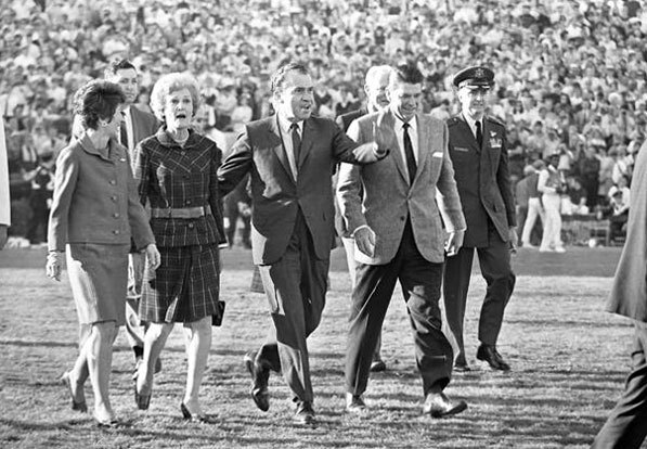 President Richard Nixon and Governor Ronald Reagan walk across the field before the 1969 Rose Bowl game in Pasadena. Courtesy of the Los Angeles Times Photographic Archive, Department of Special Collections, Charles E. Young Research Library, UCLA.