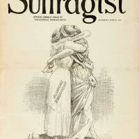 """At Last"" illustration from The Suffragist dated June 21, 1919 published by the National Woman's Party, Washington, D.C. 