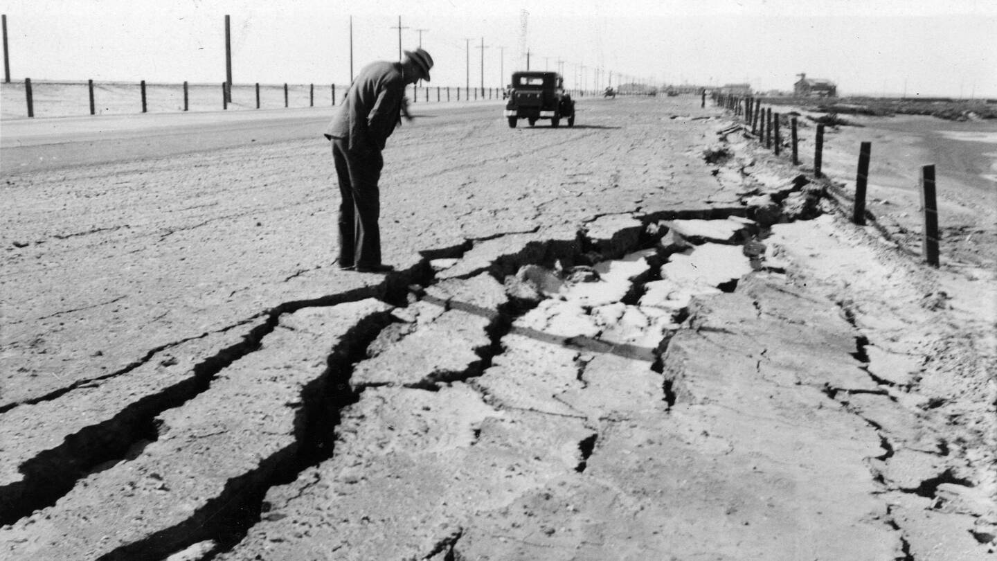 Cracks in roadway near Seal Beach after 1933 earthquake
