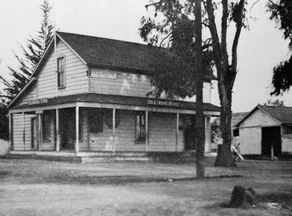 The Colegrove general store and post office was located at the town's main intersection, today named Santa Monica and Vine. Courtesy of the USC Libraries - California Historical Society Collection.