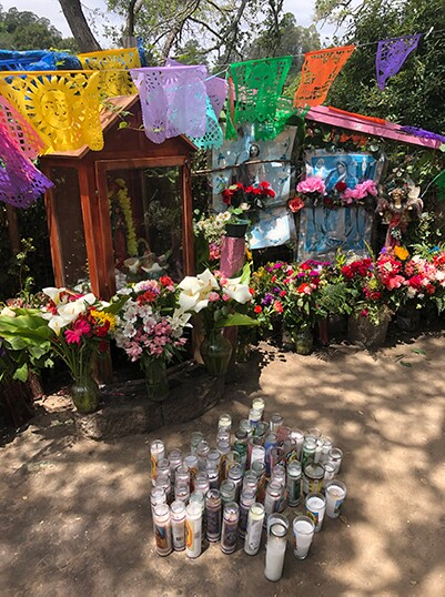 A shrine in Watsonville dedicated to farmworkers who get sick or perish and their loved ones back home in Mexico   Dvera Saxton