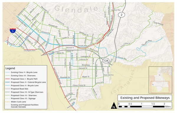 Existing and proposed bikeways from the 2012 Glendale Bicycle Transportation Plan