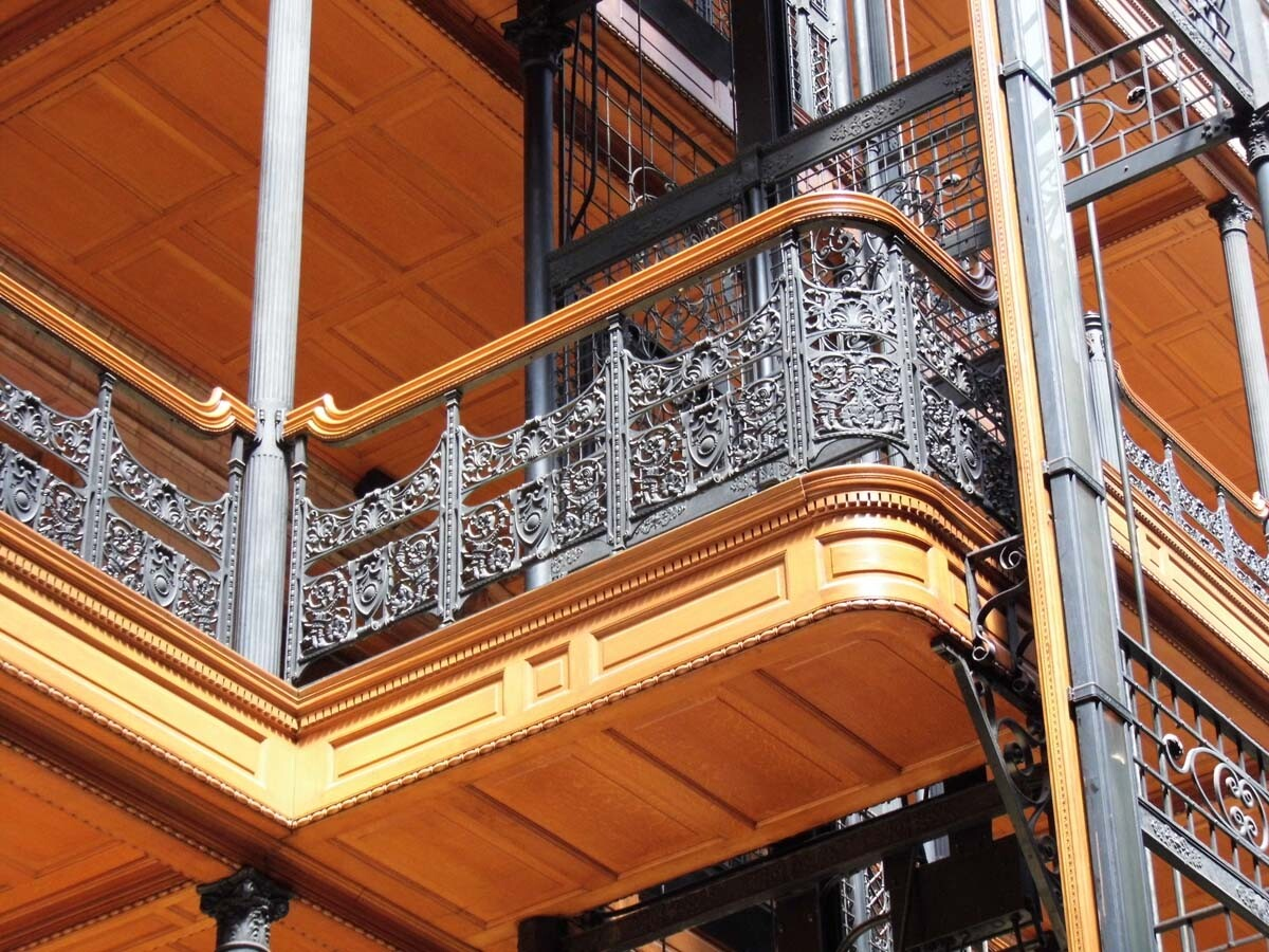 Detail of the Bradbury's light-filled Victorian atrium. | Sandi Hemmerlein