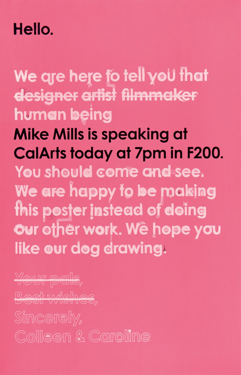 CalArts poster advertising a Mike Mills talk | Colleen Corcoran and Caroline Oh