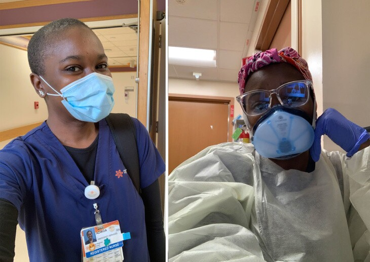 (LEFT) ER nurse Adwoa Blankson-Wood pictured near the start of the COVID-19 pandemic in 2020, wearing scrubs and a surgical mask; By October, Blankson-Wood was required to don an N-95 mask, protective goggles, a head covering and full PPE to interact with patients.