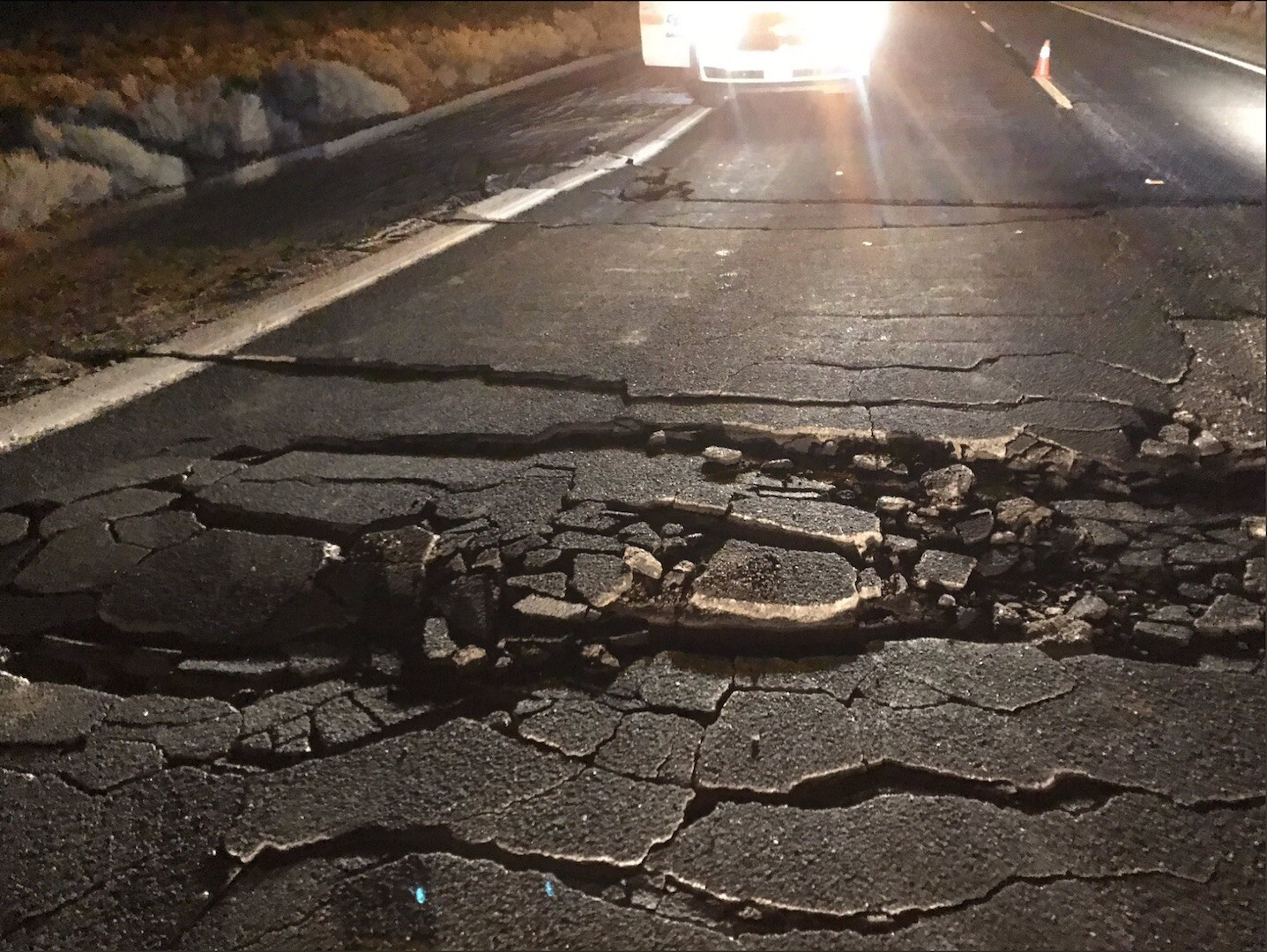 Cracked and damage highway from second earthquake in Ridgecrest, CA on July 5th, 2019. This is the largest and second earthquake to hit the area in one week.